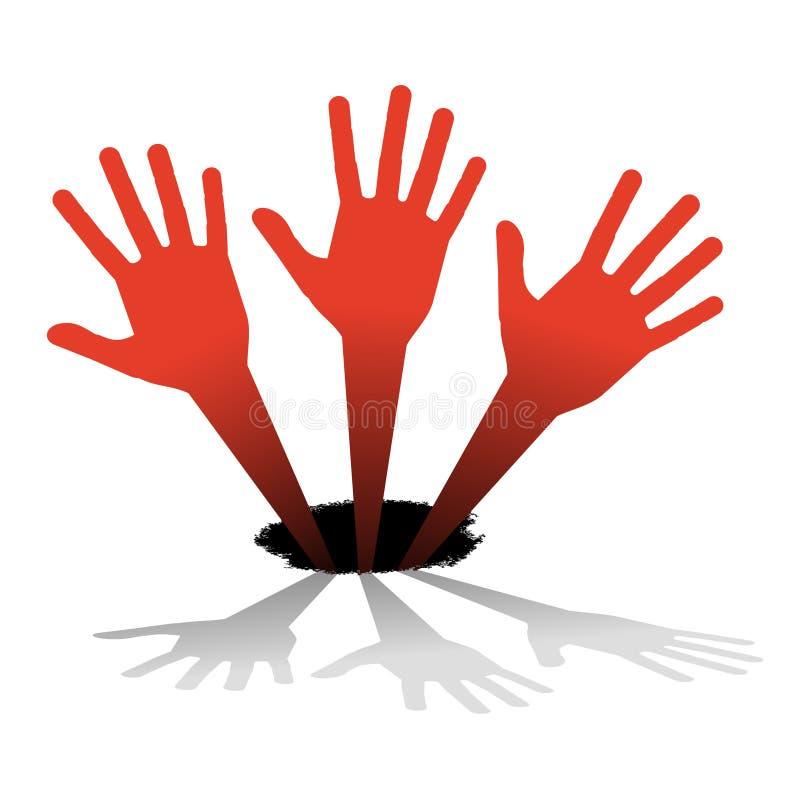 Drei Hände oben stock abbildung