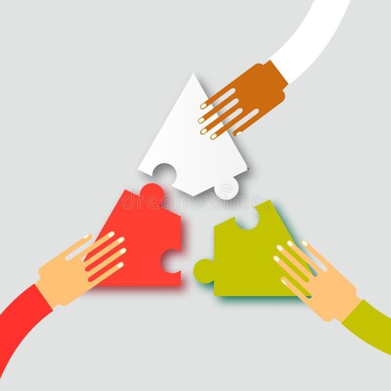 Drei Hände team zusammen Arbeit stock abbildung