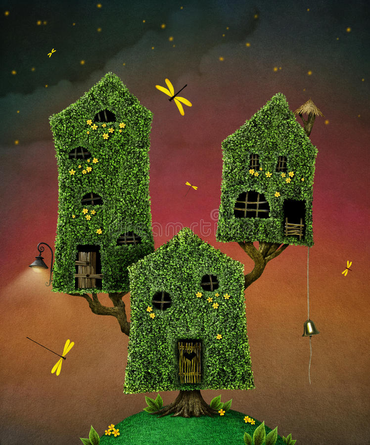 Drei Häuser auf Baum stock abbildung