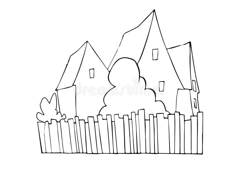 Drei Häuser mit Sträuchen und Palisadenzaun lizenzfreie abbildung