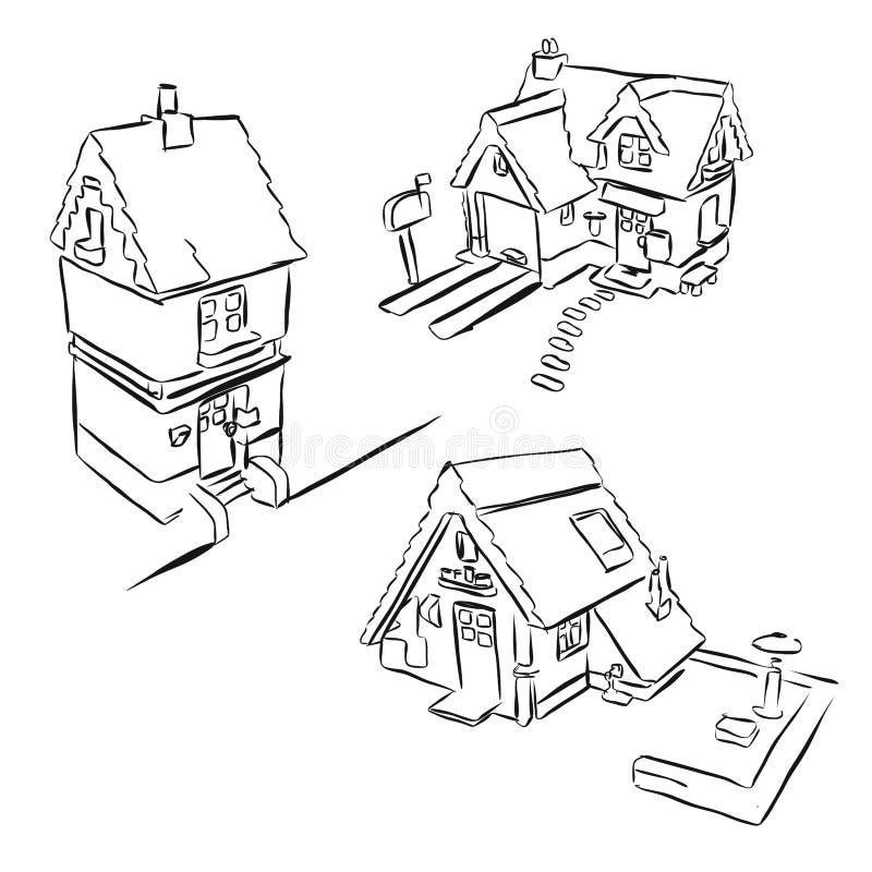 Drei Haus-Skizzen-Miniatur-Gekritzel lizenzfreie abbildung