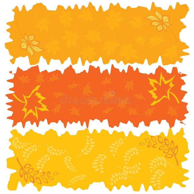 Drei herbstliche Fahnen der Farbe stock abbildung