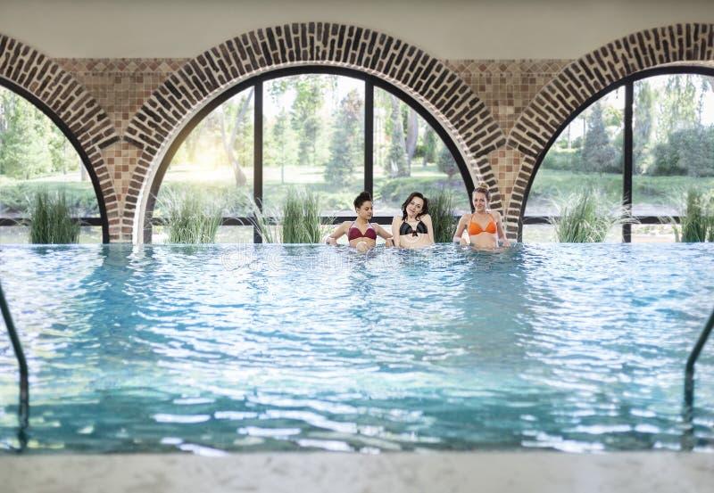 Drei junge Frauen im Swimmingpool stockbild