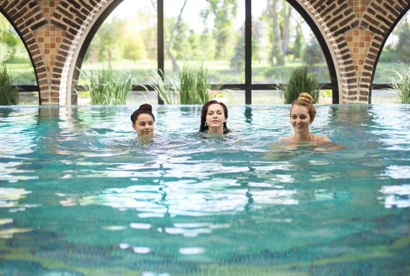 Drei junge Frauen im Swimmingpool lizenzfreie stockfotografie