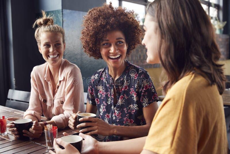 Drei junge Freundinnen, die Sit At Table In Coffee-Geschäft und -gespräch treffen stockfoto