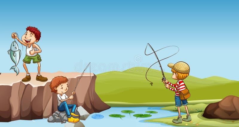 Drei Jungen, die in dem Fluss fischen lizenzfreie abbildung
