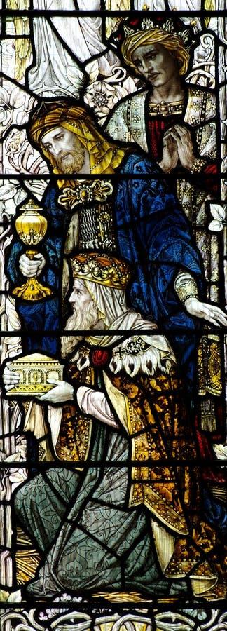 Drei Könige, die Jesus (Buntglas, besuchen) stockfotografie