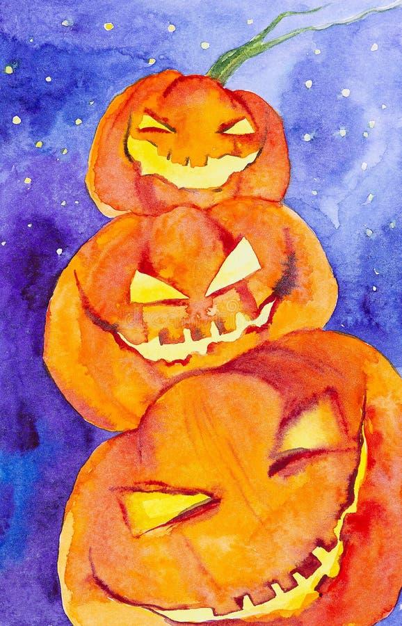 Drei Kürbise auf einander böswillig lachend bei Halloween Dekoratives Bild einer Flugwesenschwalbe ein Blatt Papier in seinem Sch stock abbildung