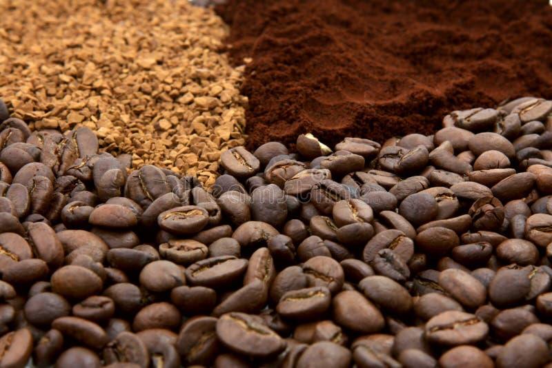 Drei Kaffeetypen lizenzfreie stockfotos