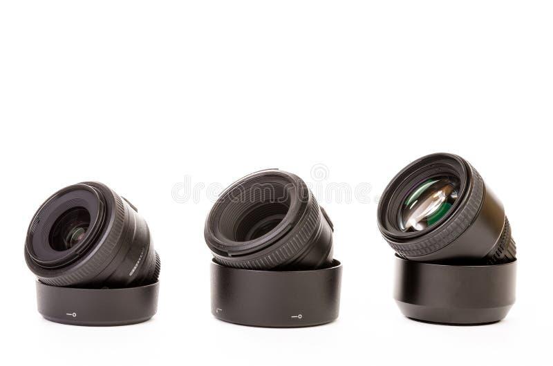 Drei Kameraobjektive lizenzfreies stockfoto