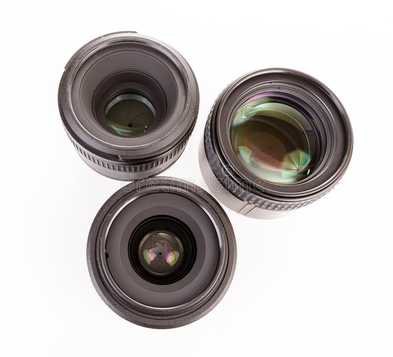 Drei Kameraobjektive stockfotos