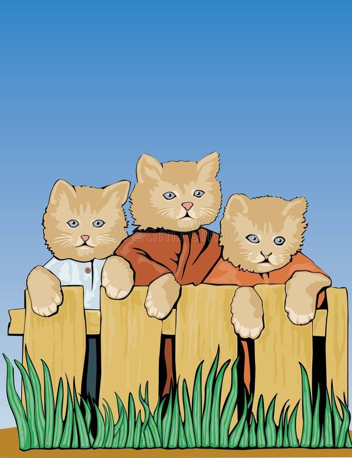 Drei Katzen auf Zaun lizenzfreie abbildung