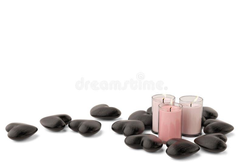 Drei Kerzen mit schwarzem Steinherzen auf weißem Hintergrund Kranke 3d vektor abbildung