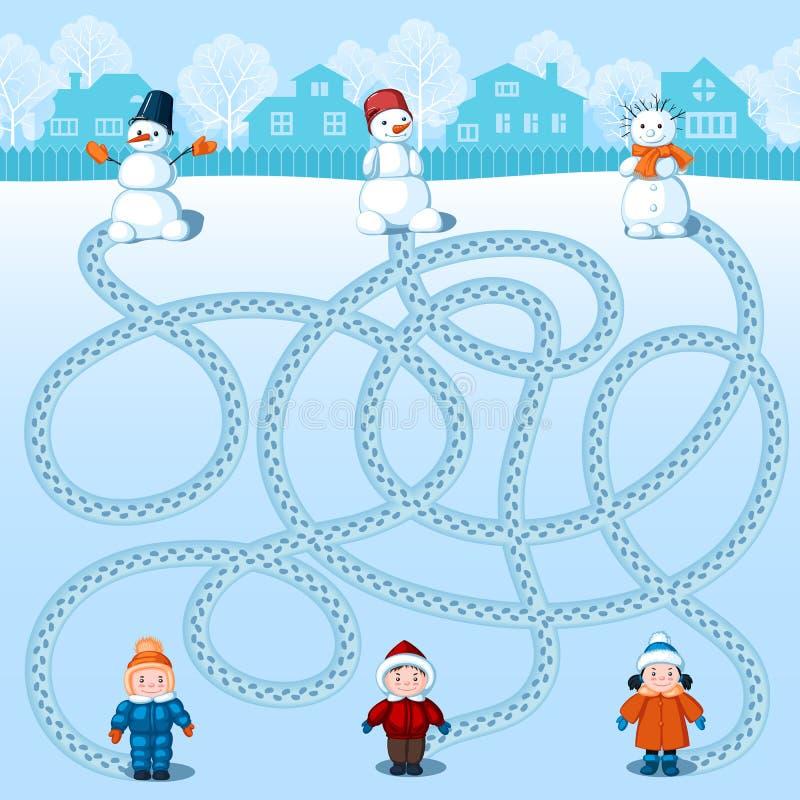 Drei Kinder in den Wintermänteln machen drei Schneemänner Entdeckung, deren wo ist? Bild mit einem Rätsel stock abbildung