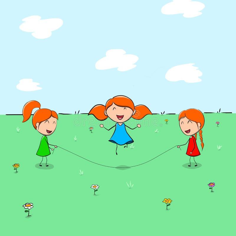 Drei Kinder, die das Überspringen spielen stockbilder