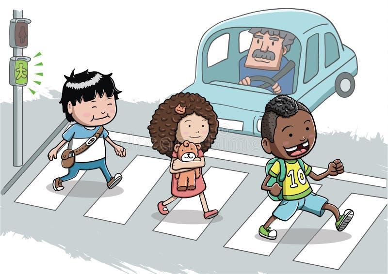Drei Kinder, welche die Straße unter Verwendung des Zebrastreifens kreuzen stock abbildung