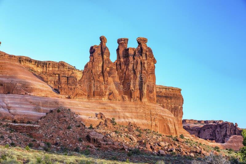 Drei Klatsch, Bögen Nationalpark, Utah stockfoto