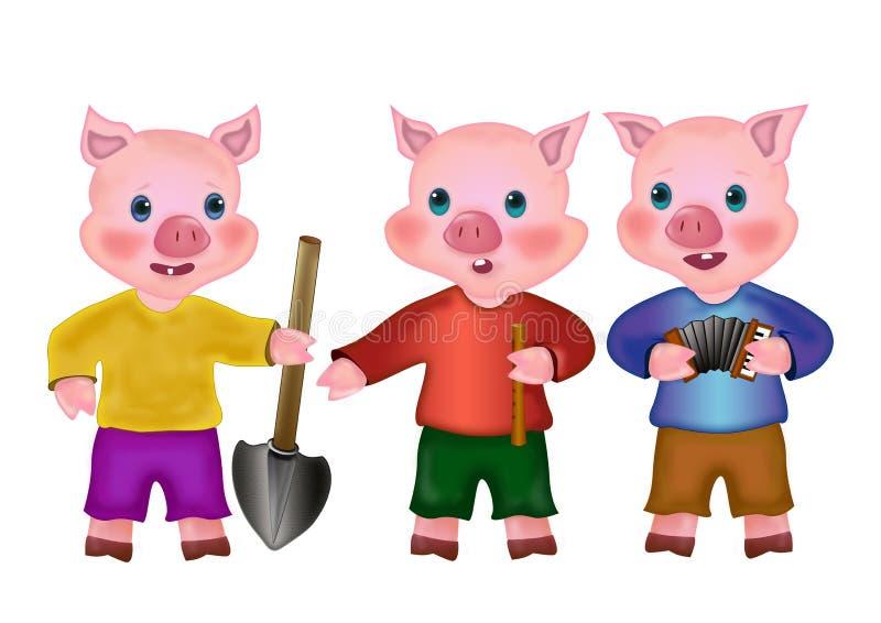 Drei kleine Schweine stock abbildung