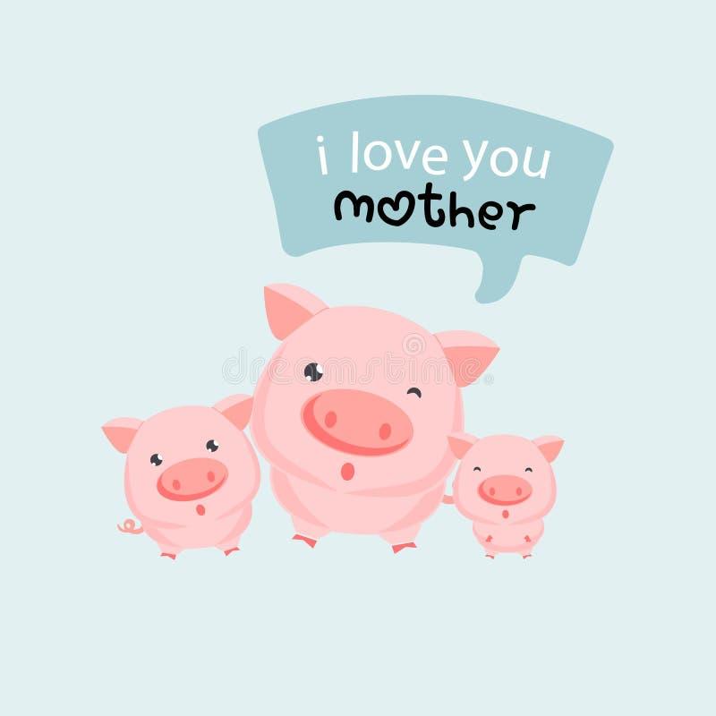 Drei kleine Schweine sagt I Mutter der Liebe u Glücklicher Mutter`s Tag lizenzfreie abbildung
