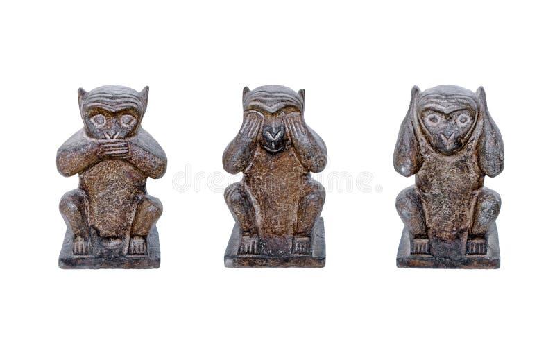 Drei kluge Affen sehen kein Übel, hören kein Übel, sprechen kein Übel lizenzfreie stockbilder