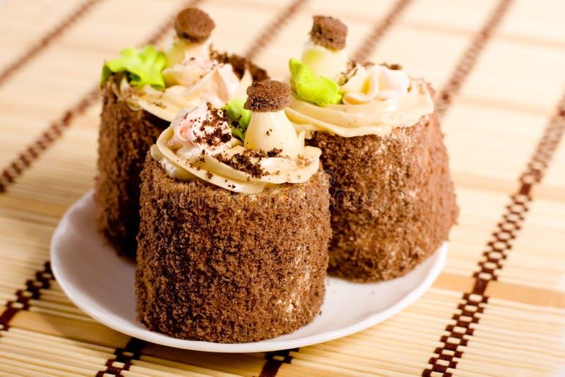 Drei Kuchen stockbilder