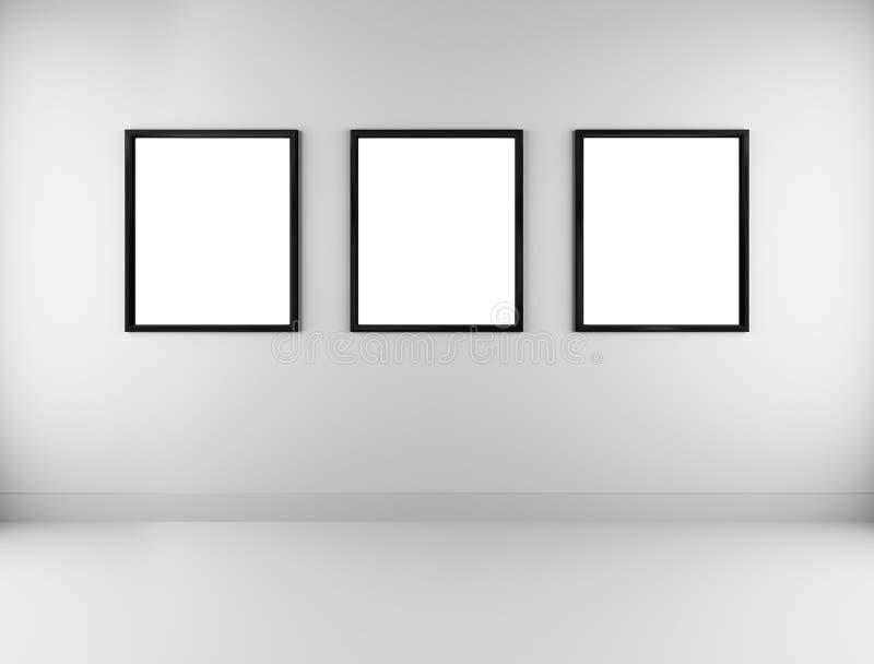 Drei leere Bilderrahmen stock abbildung