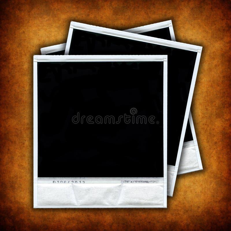 Drei leere Fotofelder über grunge Hintergrund stock abbildung
