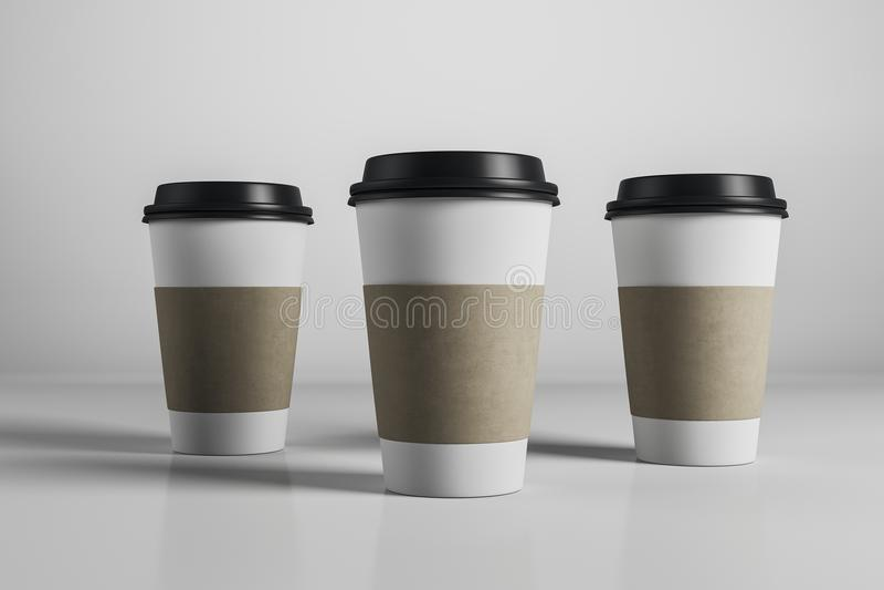 Drei leere Kaffeetassen lizenzfreie abbildung