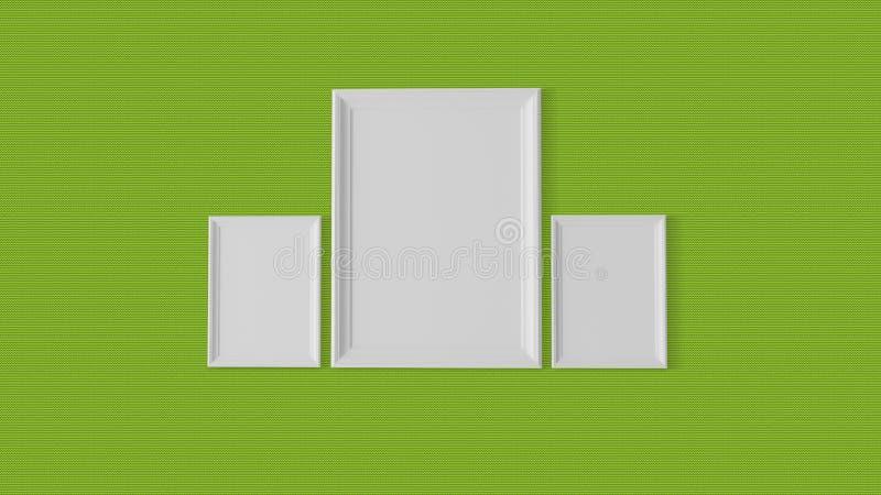 Drei leere Rahmen auf grafischer Wand lizenzfreie abbildung