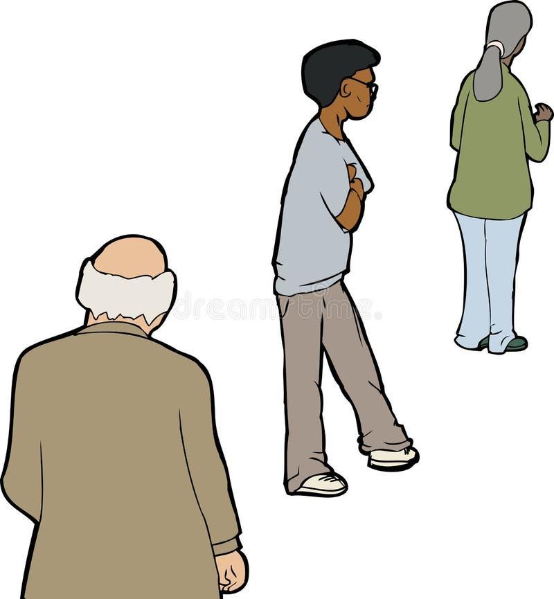 Drei Leute in der Linie vektor abbildung