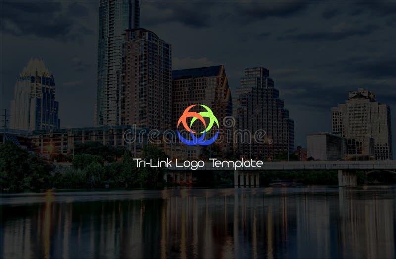 Drei Linklogo-Schablone stockbild