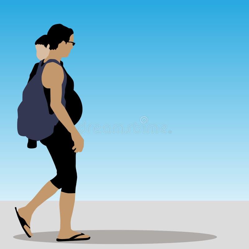 Drei Mädchen, die weg auf eine Promenade gehen lizenzfreie abbildung