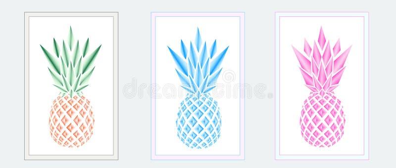 Drei Mehrfarbenananas in den Rahmen auf dem grauen Hintergrund lizenzfreie abbildung