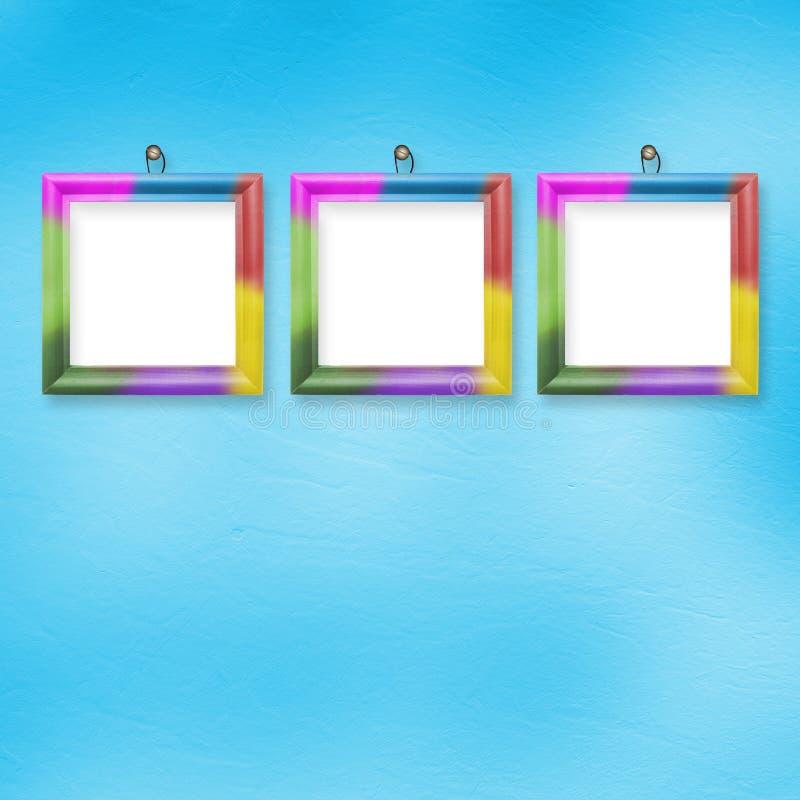 Drei mehrfarbige Felder für Fotos vektor abbildung