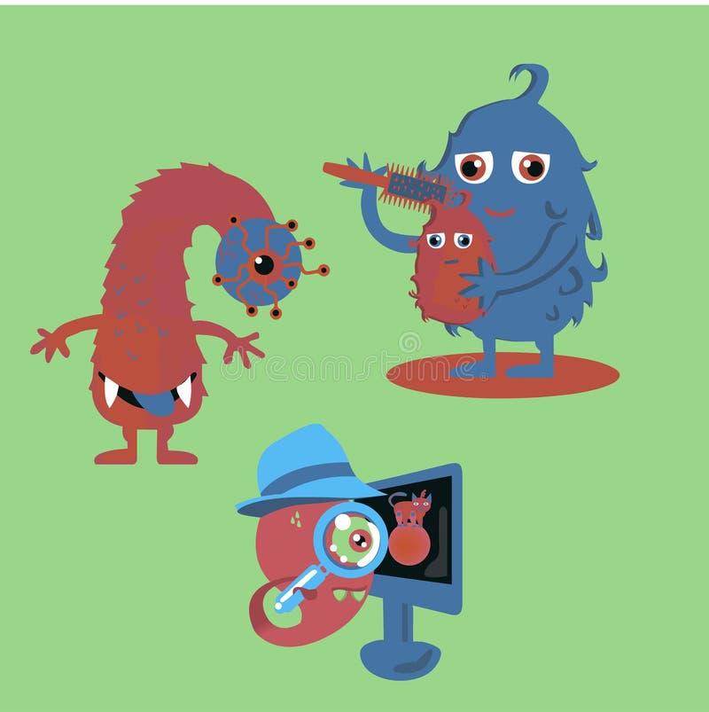 Drei Monster von Rotem und von Blauem Ein Monster combes die Wolle von anderen stockfotografie