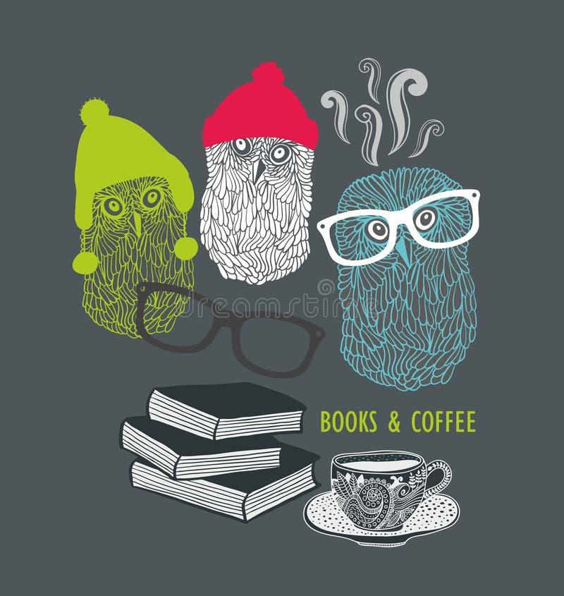 Drei nette Eulen mit Büchern und Tasse Kaffee vektor abbildung