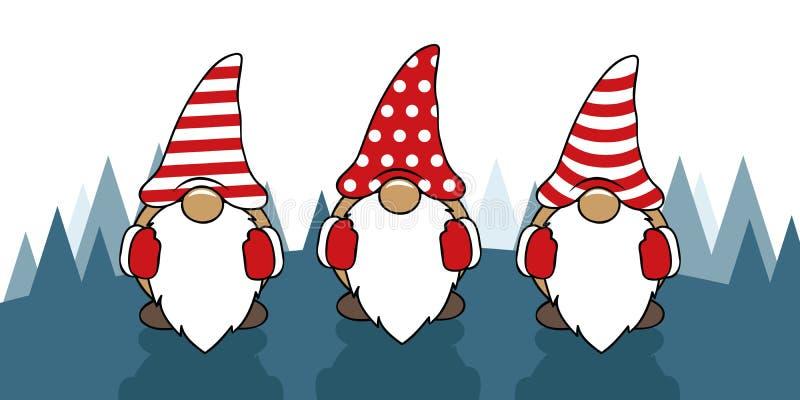 Drei nette Weihnachtsgnomen mit lustigen Kappen lizenzfreie abbildung