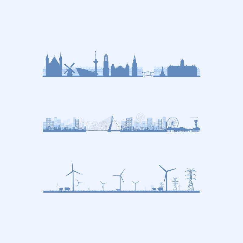 Drei niederländische Skyline lizenzfreie abbildung