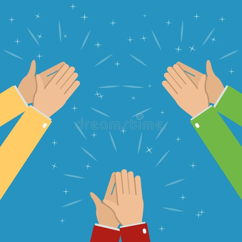 Drei Paare Hände applaudieren, Applaus lizenzfreie abbildung