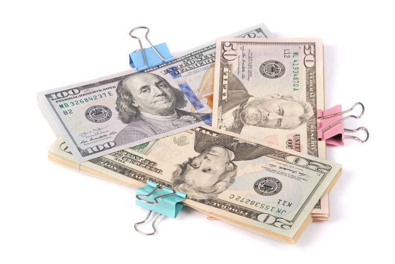 Drei Packs Geld hundert fünfzig und zwanzig Dollar stockfotografie