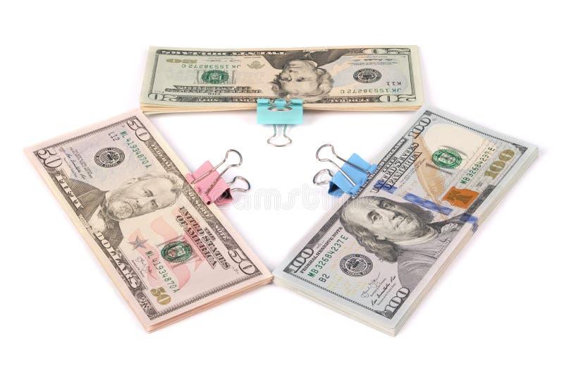Drei Packs Geld hundert fünfzig und zwanzig Dollar lizenzfreies stockbild