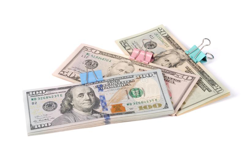 Drei Packs Geld hundert fünfzig und zwanzig Dollar stockbilder