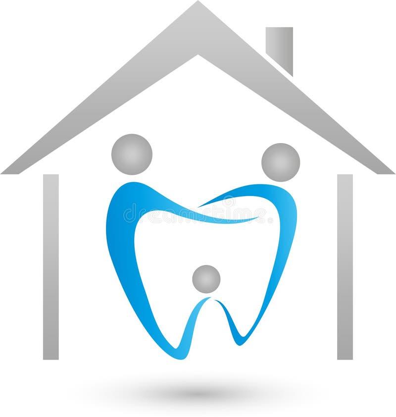 Drei Personen als Zahn, Familienzahnarzt und Familienlogo lizenzfreie abbildung