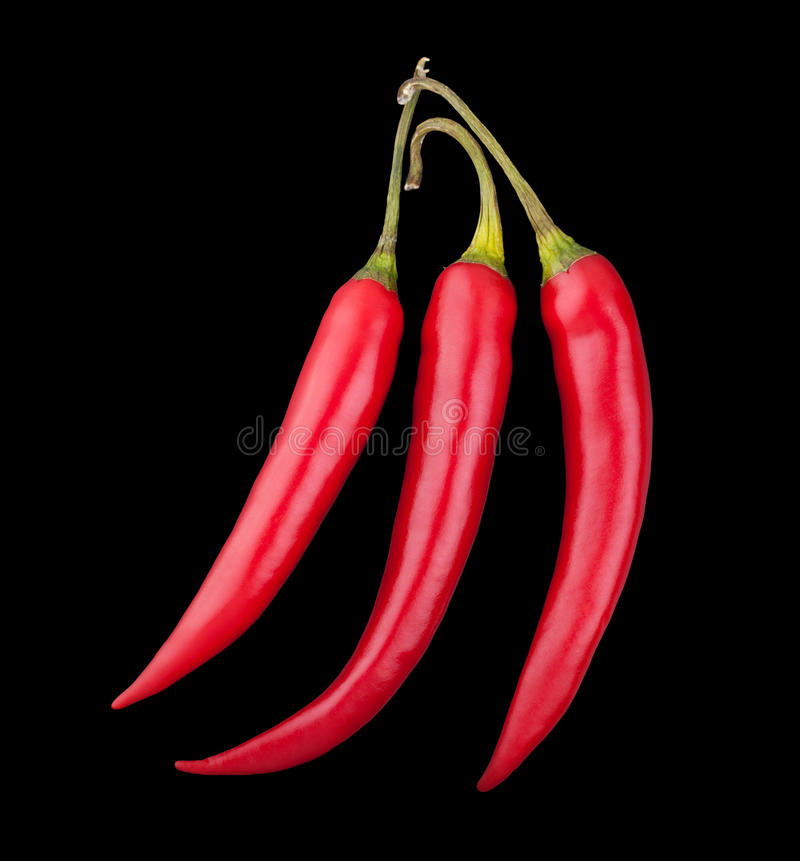 Drei Pfeffer des roten Paprikas auf schwarzem Hintergrund stockfotografie