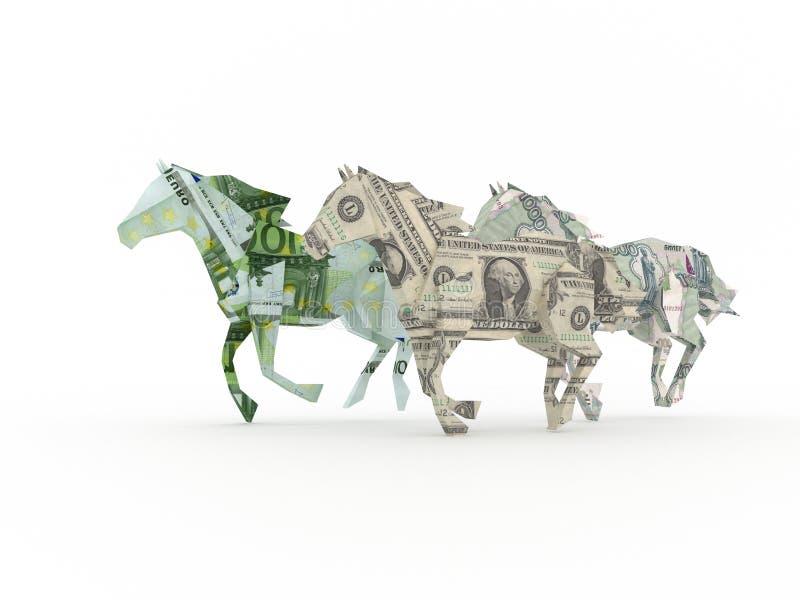 Drei Pferde, die das Bargeld zusammen läuft symbolisieren vektor abbildung