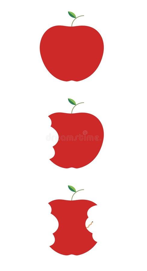 Drei Phasen eines gebissenen Apfels lizenzfreie abbildung