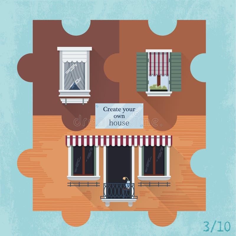 Drei Puzzlespiele mit Fenstern stockfoto