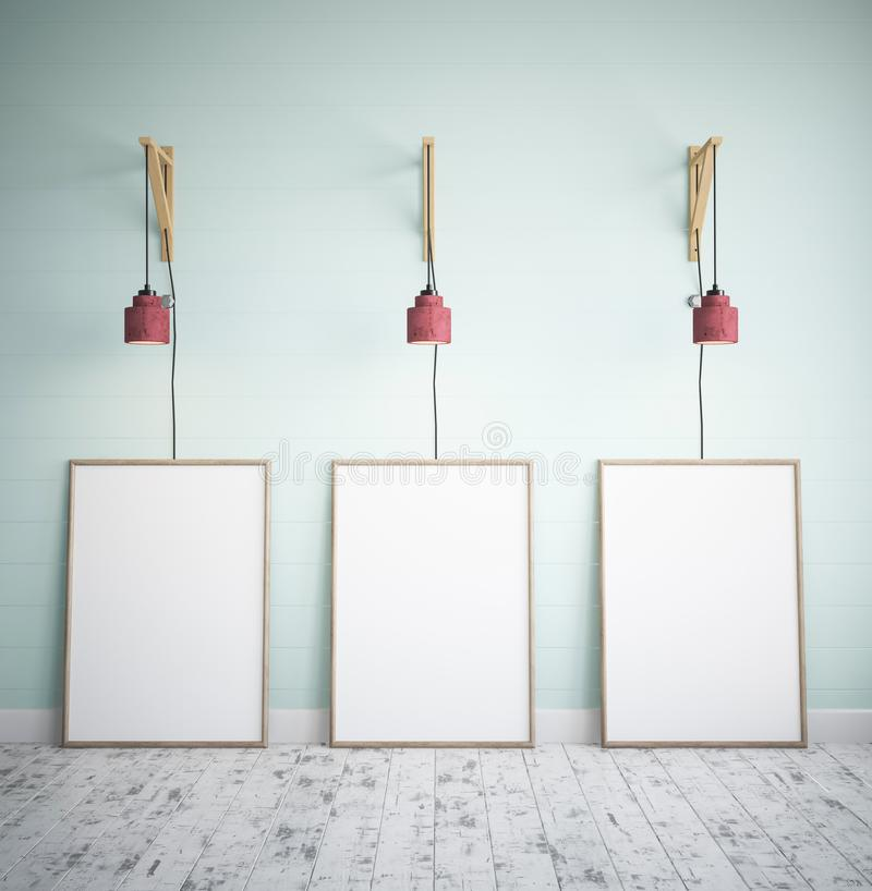 Drei Rahmen mit Plakat-Modell lizenzfreie abbildung