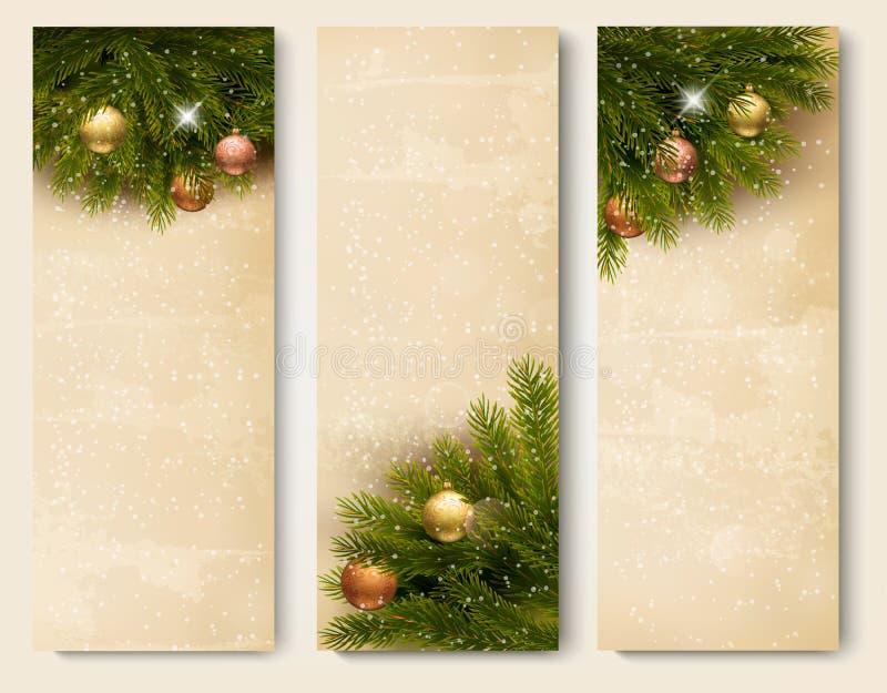 Drei Retro- Feiertagsfahnen mit Weihnachtsbaumbr lizenzfreie abbildung