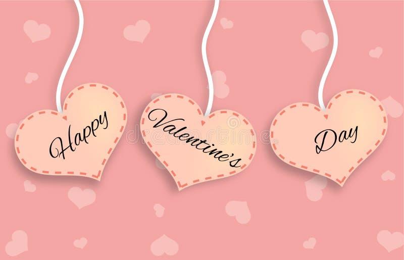 Drei rosa Herzen mit glücklicher Valentinsgruß ` s Tagesbeschriftung stockfotos